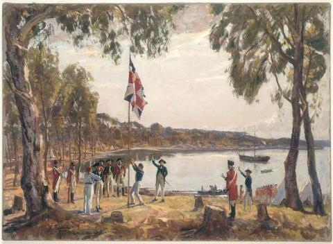 The Founding of Australia. By Capt. Arthur Phillip R.N. Sydney Cove, Jan. 26th 1788. (Public Domain)